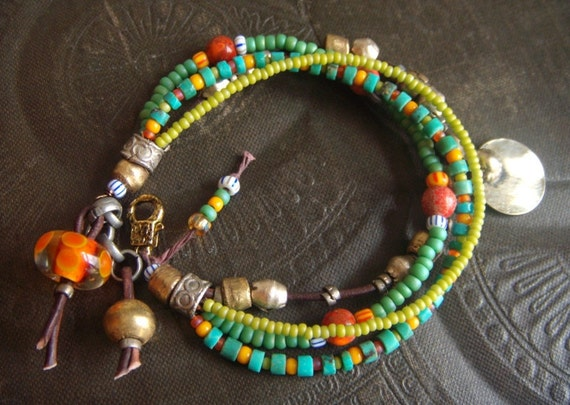Turquoise, Glass and African Beaded Bracelet