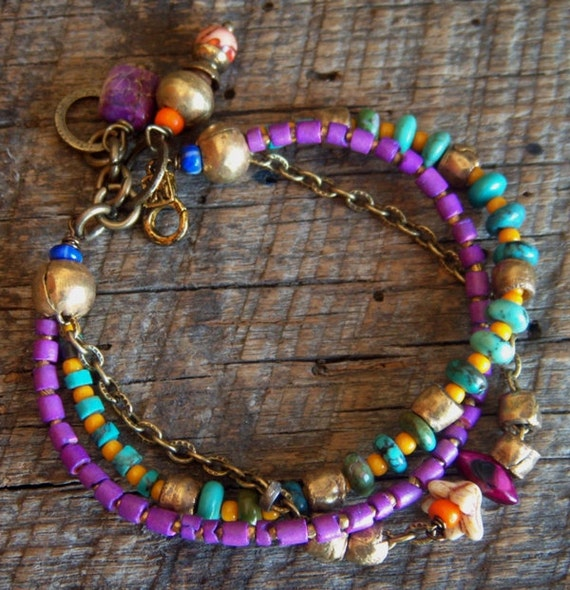 Turquoise, Brass and Coco Shell Beaded Bracelet