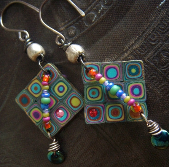 Retro Polymer Clay, Glass and African beaded Earrings