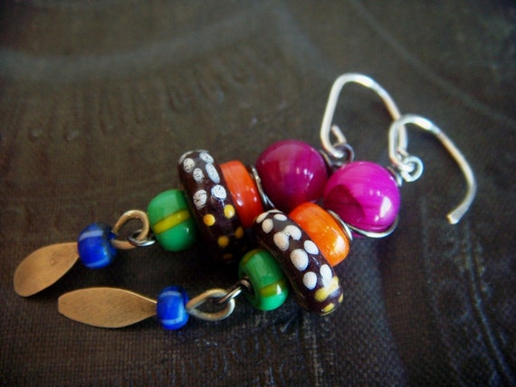 Shell and African Beaded Earrings