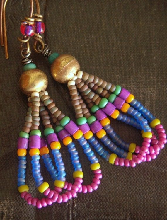 African Brass Globes and Glass Beaded Earrings