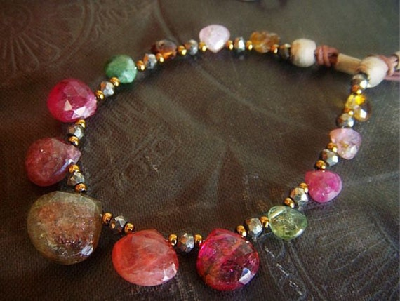 Reserved-Watermelon Tourmaline Leather Necklace