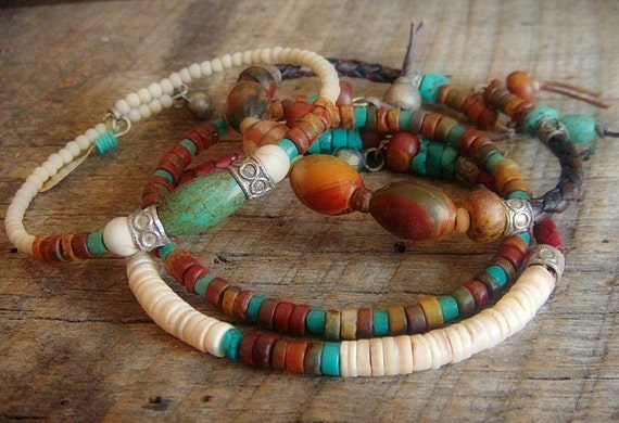 Red Canyon Jasper,Turquoise, Howlite and Leather Beaded Bangle Set