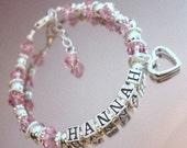 925 Sterling Silver Personalized Child Baby Kids Name Bracelet - Birthday - Flower Girl - First Communion - Baptism Keepsake