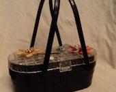 Vintage 50s lucite plastic shell flowers box purse glitter seashells