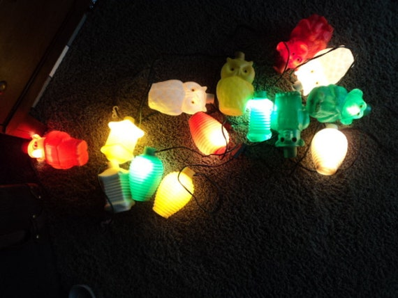 Monkey Party String Lights : TWO sets of Vintage camper party patio string lights owls bear