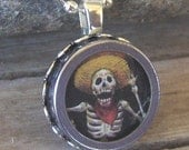 Halloween Necklace Typewriter Key Pendant Necklace  Skeleton Day of the Dead