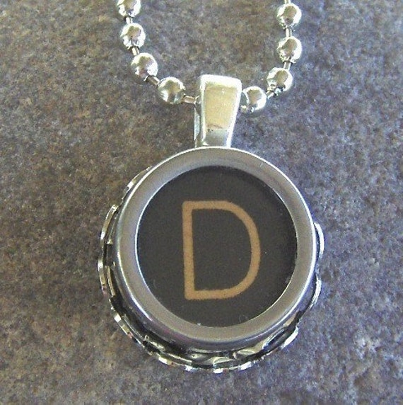 Vintage Typewriter Key Necklace - Pendant - the Letter D - ALL LETTERS AND NUMBERS AVAILABLE