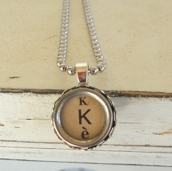 Typewriter Key Necklace, Typewriter Key Jewelry, Letter K, French Typewriter, ALL LETTERS Available- Recycled Jewelry