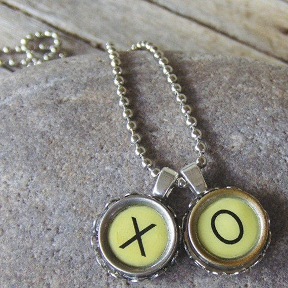 Vintage Typewriter Key Necklace, Hugs and Kisses, Etsy Project Embrace