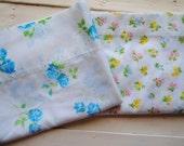 2 Standard Size Vintage Pillowcases- Spring Floral