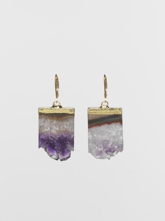 Gold-dipped amethyst drusy earrings
