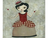 Life Is Just A Bowl of Cherries Folk Art Primitive Print of Painting Tan and Red for all you Cherry Girls