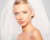 Two Layered Veil - Ivory Champagne Wedding Veil - Bridal Handmade - Simple Elegant - Blusher Veil Wedding Accessory Women Accessories