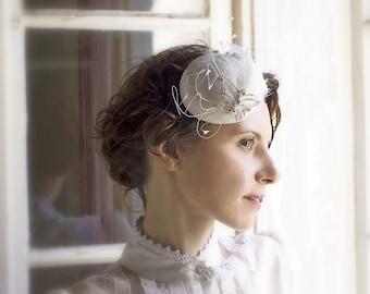 Butterfly Bridal Accessory - Headpiece Fascinator - Vintage Inspired Wedding - Hats Silver Swarovski Rhinestones Brooch Jewelry
