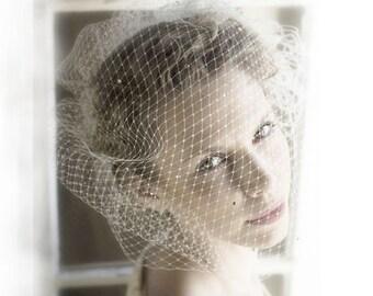Full Birdcage Veil Bridal Blusher - Fascinator - Delicate Veil Covered with Tiny Genuine Swarovski Rhinestones - Headpiece - Hair Piece