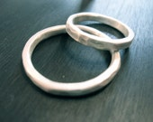 2 Hammered Sterling Silver Wedding Commitment Rings