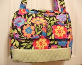 Quilted handbag / Diaper bag with Flowers on a black background