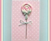 Shabby Lollipop with Aqua Bow Pin Topper