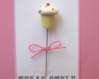 Texas Style Rainbow Sprinkle Cupcake Pin Topper