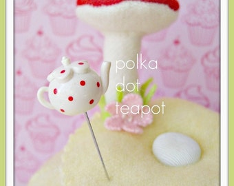 Polka Dot Teapot Pin Topper