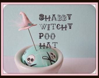 Pink Shabby Witchy Poo Hat Pin Topper