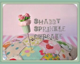 Shabby Sprinkle Cupcake - Aqua and Pink