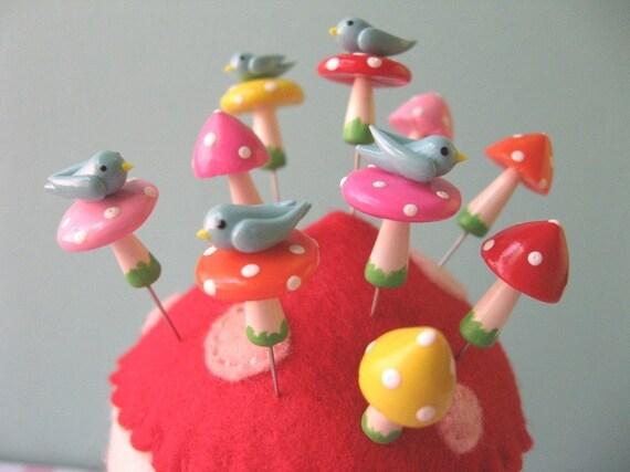 Mini Birdie Mushroom Pin Topper Sets