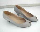 vintage gray peep toe leather shoes 6