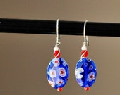 SALE Cobalt Millefiori Earrings