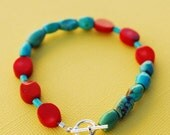 SALE Coral and Turquoise Bracelet