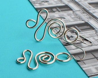 "Shaped Sterling Silver Earrings ""Silver Wind"""