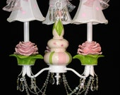 Chandelier Shabby French Roses, Girls Room Chandelier, Rose Ceiling Fixture