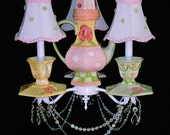 Teapot Tea Cups and Saucers Chandelier Shabby Cottage