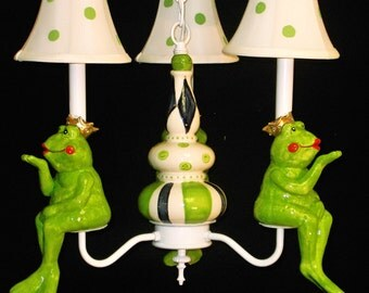 Childrens Lighting - Frog Prince Chandelier - Nursery Chandelier - Baby Nursery Decor