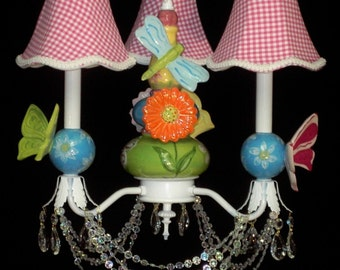 Garden Butterfly and Daisy  Nursery Chandelier - Kid's Chandelier Lighting - Ceiling Fixtue for Kids