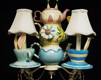 Alice In Wonderland Mad Hatter Tea Party Chandelier - Mad Hatter Lighting -  Wonderland Decor