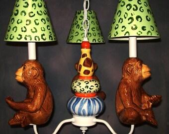 Nursery  Light - Whimsical Monkey Chandelier