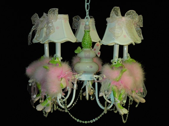 Pink Princess Frog Chandelier