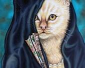 ACEO Cat Fantasy Art Print Cat in a  Veil Portrait of Madame