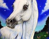 Horse Pegasus ACEO Arabian Art Print Bunny Ears