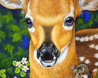 Deer ACEO Fawn Mouse Limited Edition Fine Art Print