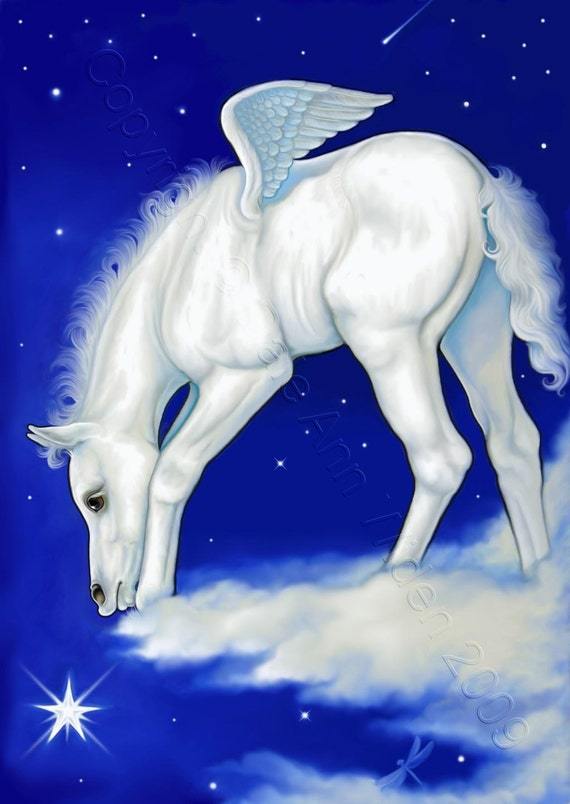 Bookmark Pegasus Horse Foal Fine Art Print Handcrafted Bookjewelet by Artist Catch a Star