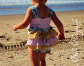 Sunsuit --Honey Mustard----girls ruffled Knot  rompers sizes 6m,1t,2t,3t,4 and 5