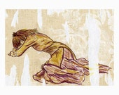 Worn Out ACEO print of original figure study drawing plus 5 x 7 mat