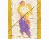 ACEO The Kiss - handcolored print of original mixed media artwork plus 5 x 7 mat