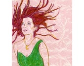 """Woman Waiting - Original Drawing of a beautiful lady with wind in her hair - in 11"""" x 14"""" mat"""