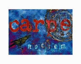 Carpe Noctem - Seize the Night ACEO- yellow tinted raven plus 5 x 7 mat