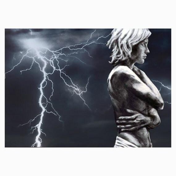 Passing Storm ACEO merges lightning & original charcoal portrait plus 5 x 7 mat