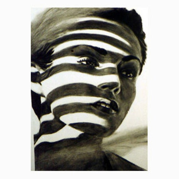 ACEO print  - original drawing of a beautiful woman - black and white light and shadow plus 5 x 7 mat